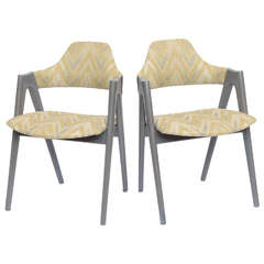Scissor Design Vintage Side Chairs in Zigzag Fabric
