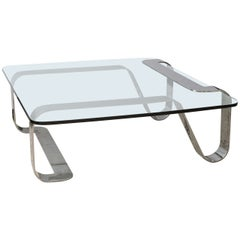 "Rare and Sculptural Gary Gutterman ""Odyssey"" Coffee Table in Polished Steel"