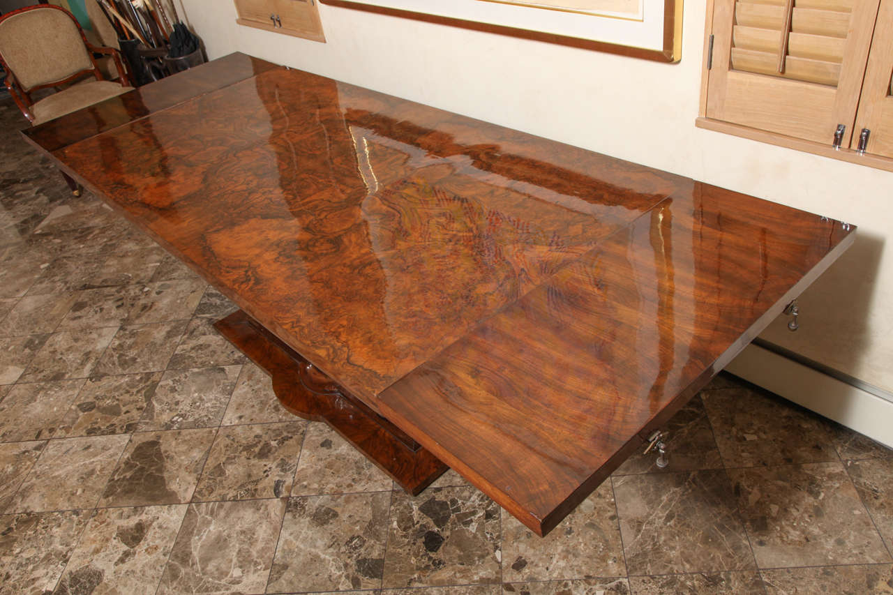 Beautiful french art deco burl walnut and silver leaf dining table for sale 4
