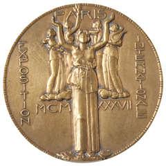 Bronze Art Medal Commemorating Exposition Internationale Des Arts et Techniques