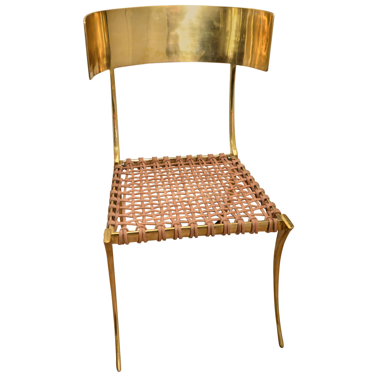Gentil Contemporary Klismos Brass Chair With Leather Straps For Sale