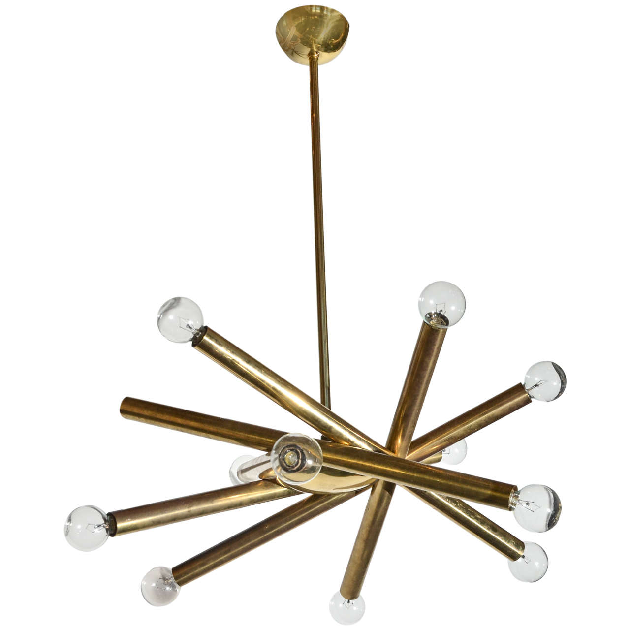 1960s Stilnovo Ceiling Light in Brass with Ten Bulbs