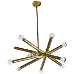 1960s Stilnovo Ceiling Light in Brass with Ten Bulbs