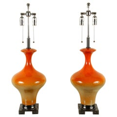 Beautiful Pair of Yellow and Orange Ombré Ceramic Lamps
