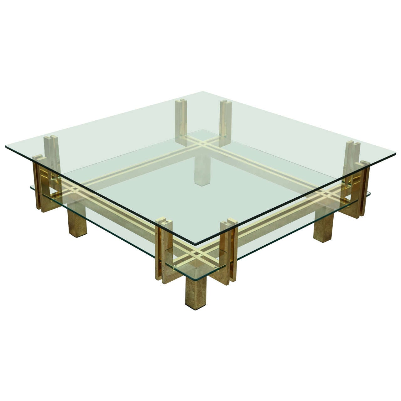 Geometric Brass And Glass Coffee Table In Two Tiers At 1stdibs