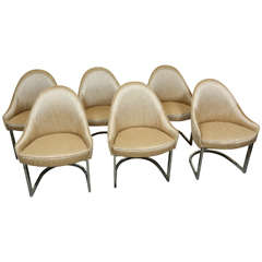 Set of Six Elegant Dining Chairs by Milo Baughman