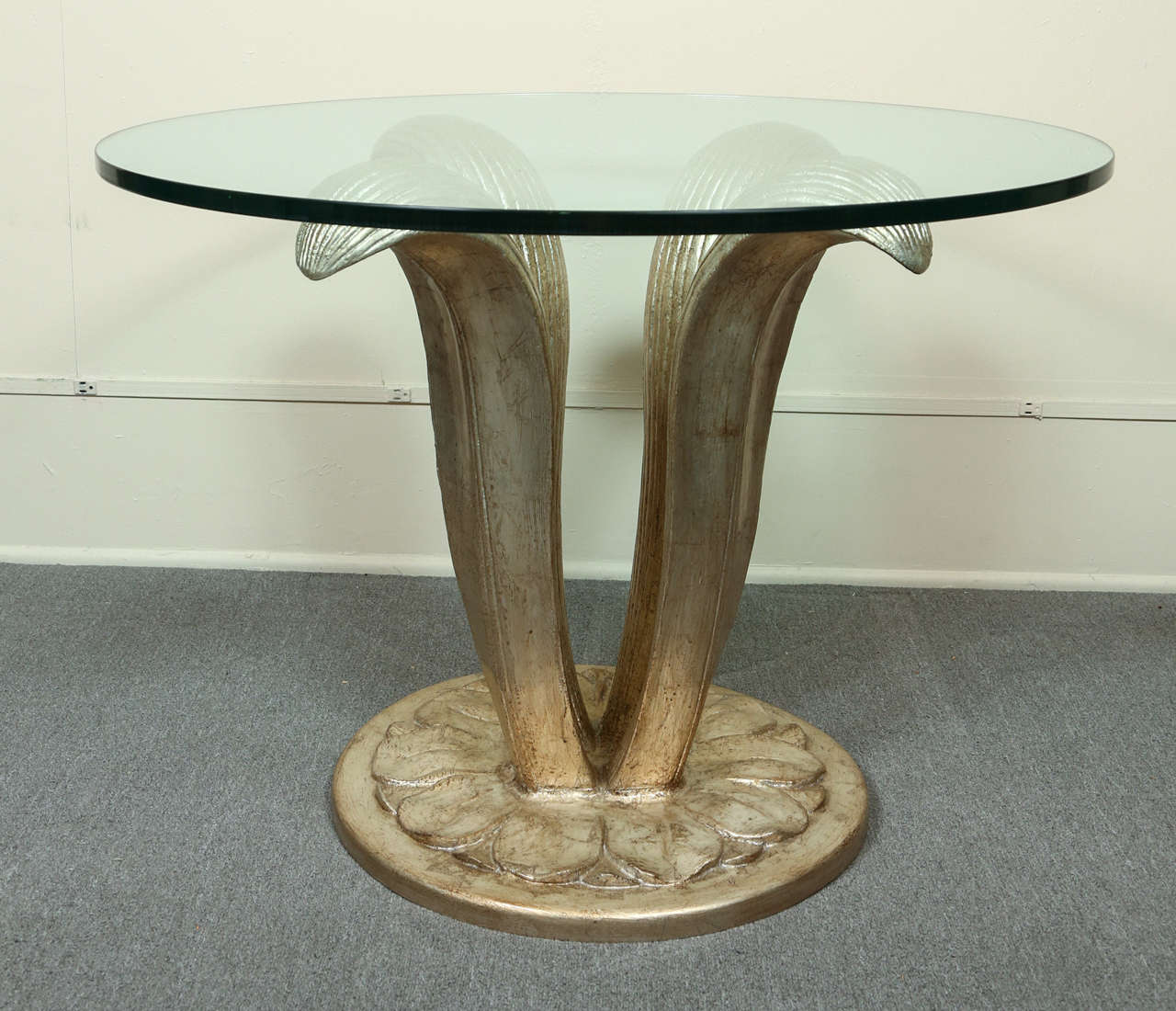 Beautiful Center Table With A Carved Leaf Form Base And Glass Top At 1stdibs