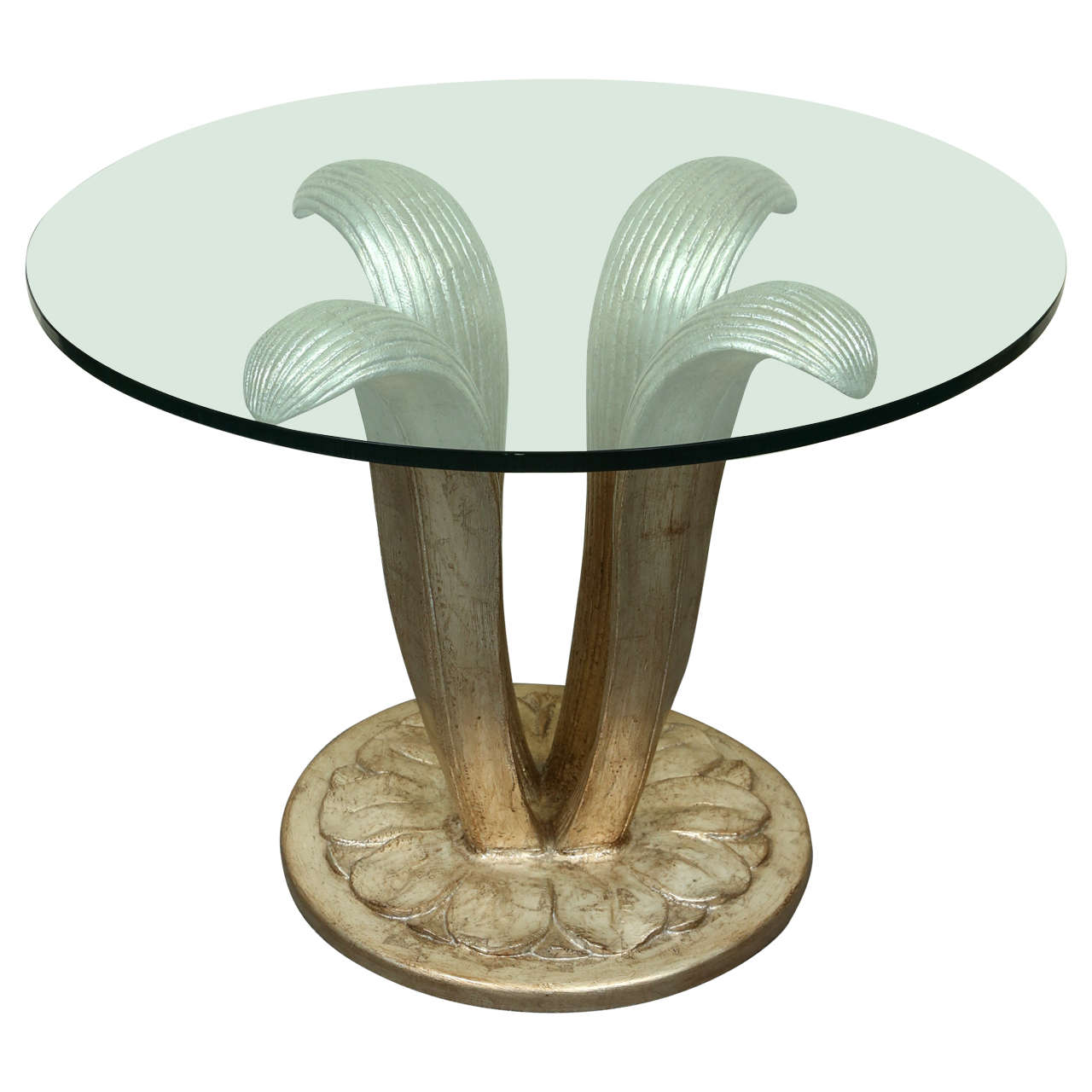 Beautiful Center Table With A Carved Leaf Form Base And Glass Top For Sale