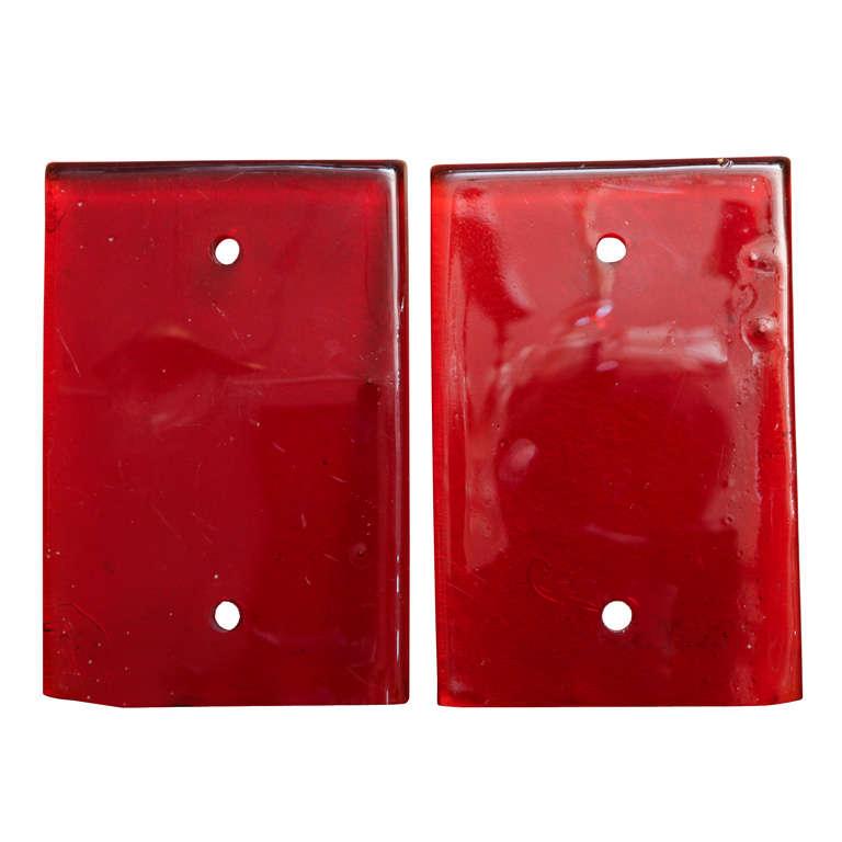 Pair of Red Glass Door Handle Plates
