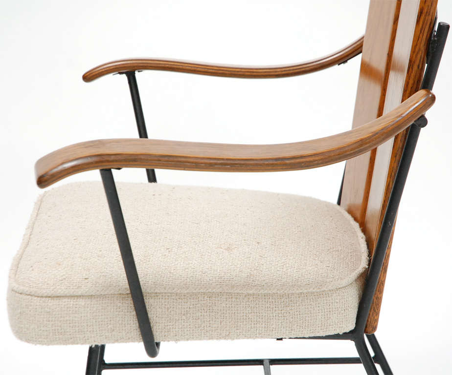 Oak and iron arm chair in the style of paul mccobb at stdibs
