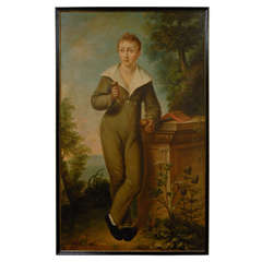 19thC French Large Portrait Of Boy