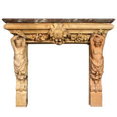 A 19th C. French terracotta fireplace / mantel piece