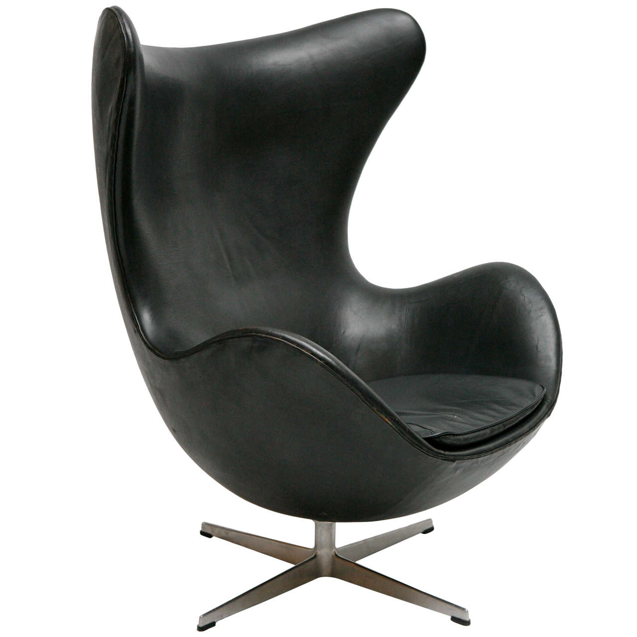 Vintage Black Leather Arne Jacobsen Egg Chair At 1stdibs