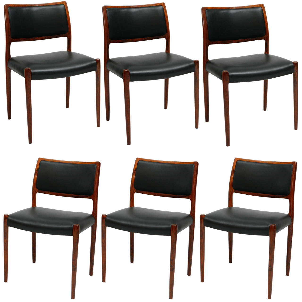 Set of 6 rosewood niels moller dining chairs for sale at 1stdibs - Rosewood dining room furniture ...