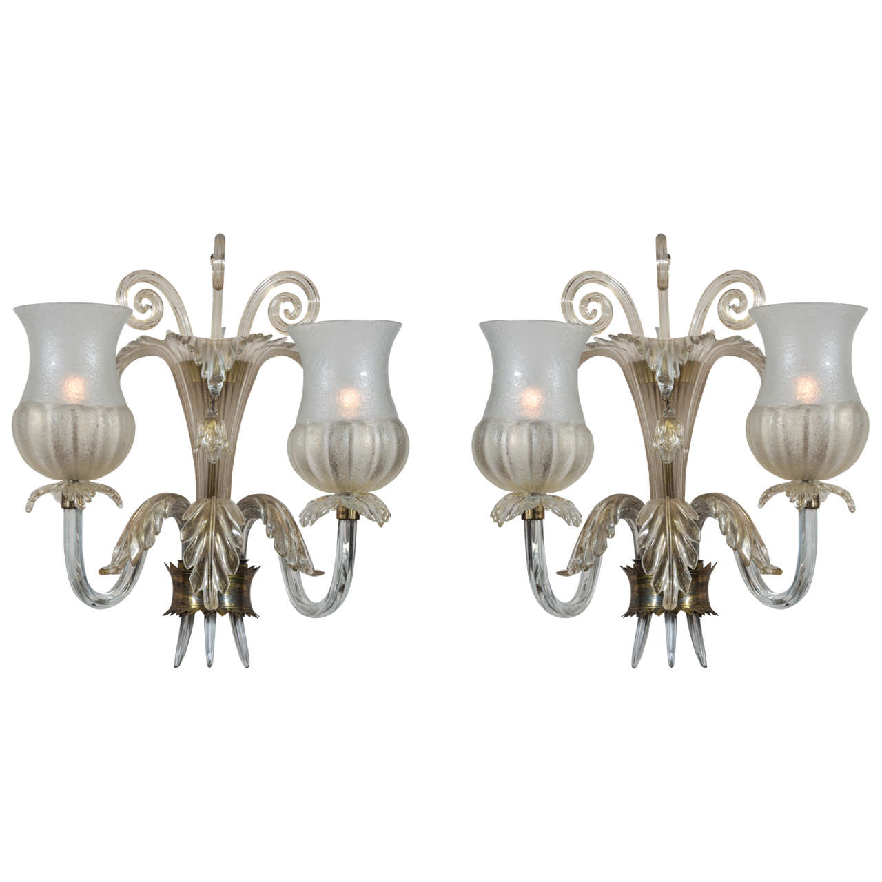 Pair Of Fume 2 Arm Murano Glass Sconces By Seguso At 1stdibs