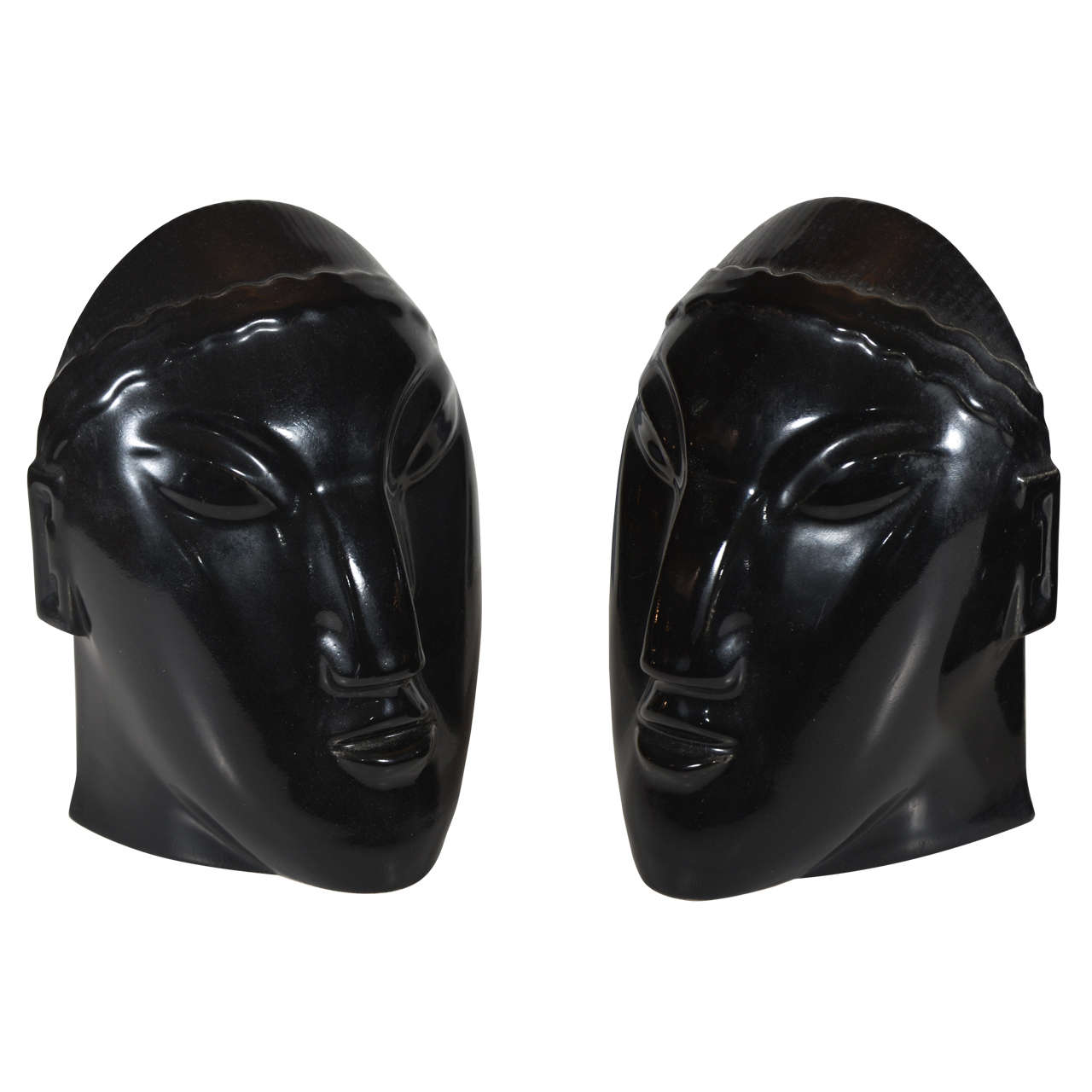 "Striking Pair Primavera Ceramic ""Nubian"" Bookends For Sale"