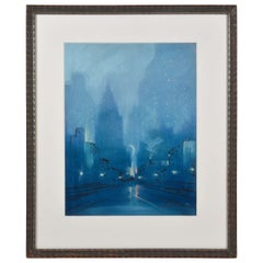 Leon Louis Dolice Signed Pastel Empire State New York Cityscape