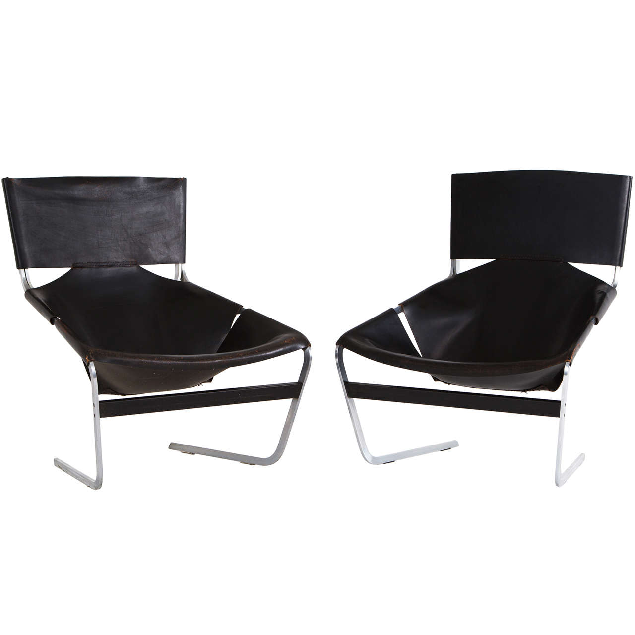 Pair of F-444 Lounge Chairs by Pierre Paulin