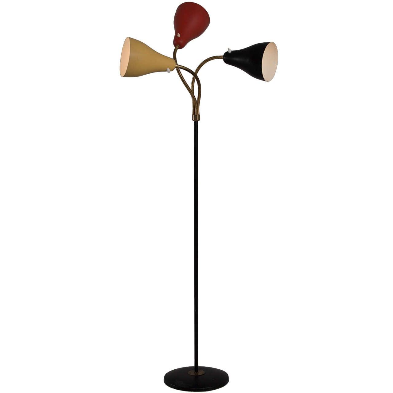 Italian 1950s floor lamp with coloured metal shades for for 1950s floor lamps