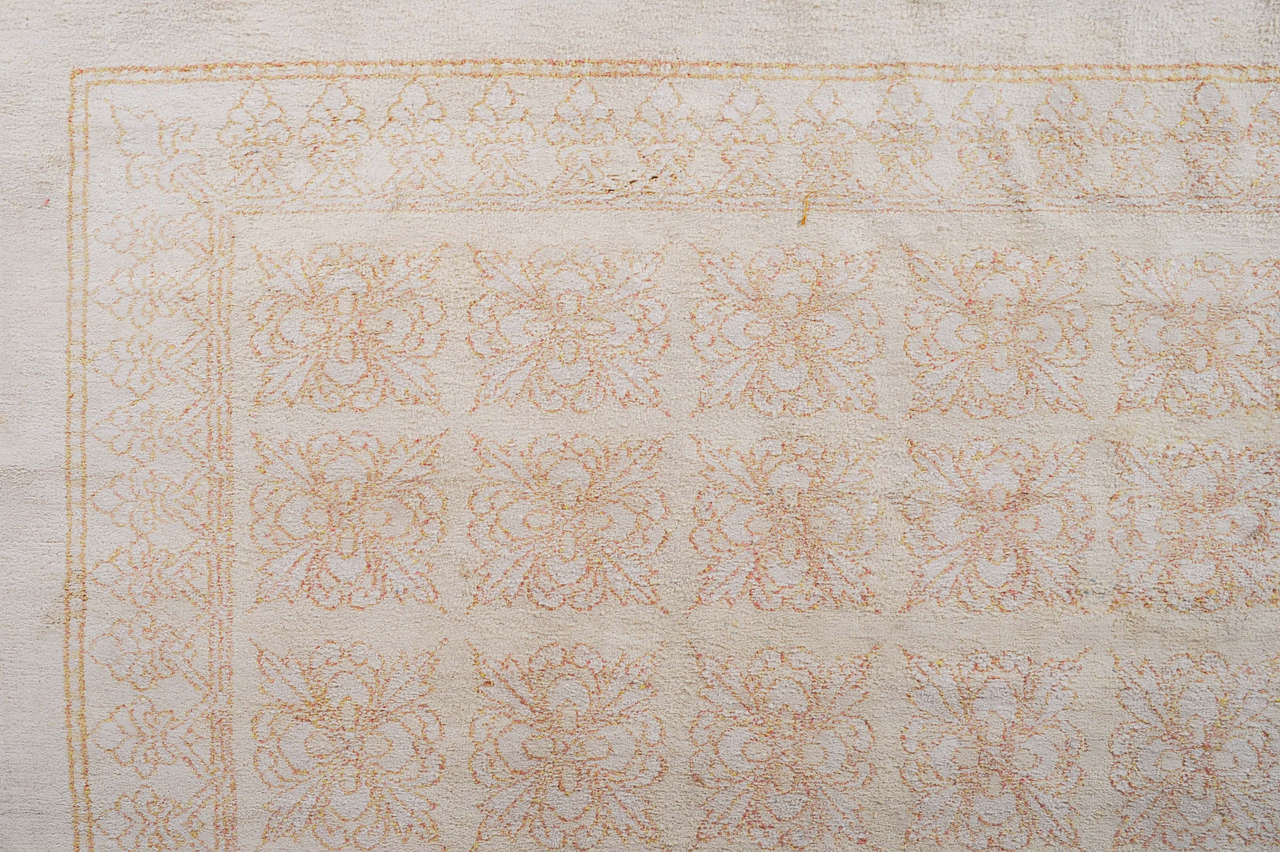 Hand-Knotted Antique Cotton Agra Rug with Tile Pattern For Sale
