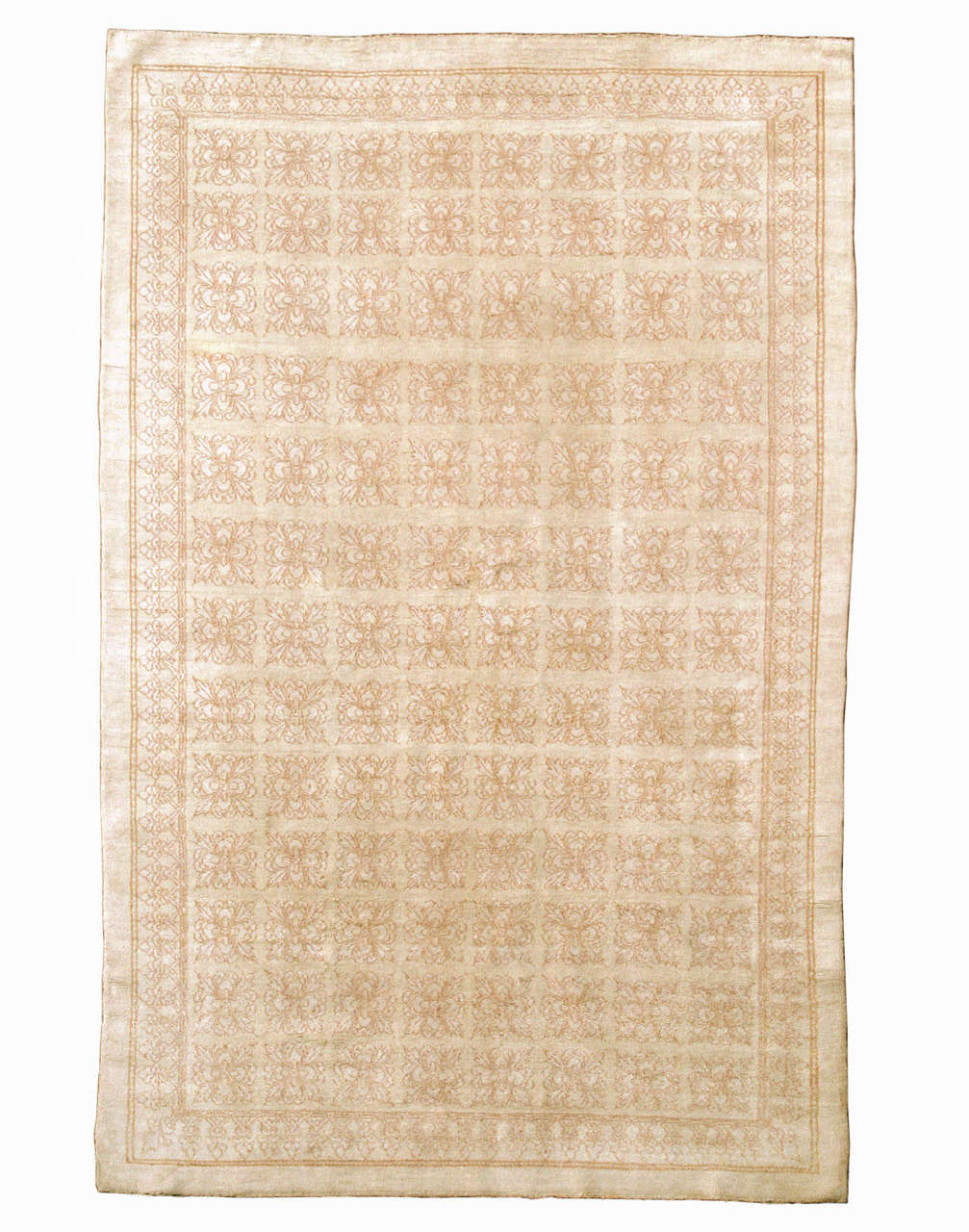 19th Century Antique Cotton Agra Rug with Tile Pattern For Sale