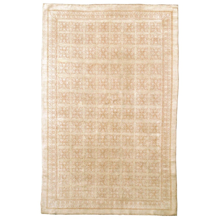 Antique Cotton Agra Rug with Tile Pattern For Sale