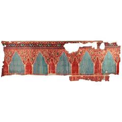 Outstanding Antique Ottoman Oushak Multiple Niche Rug Fragment