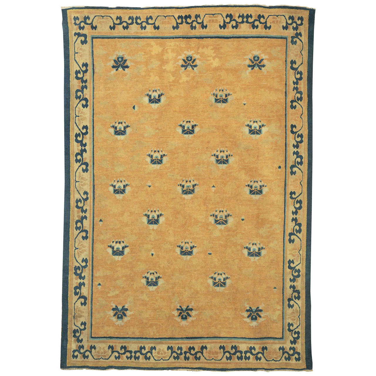 Early Chinese Ningxia Rug With Lotus Flowers For Sale At 1stdibs