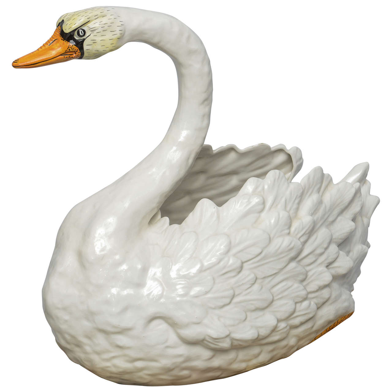 Italian Ceramic Swan Centerpiece Or Planter Hand Painted Circa