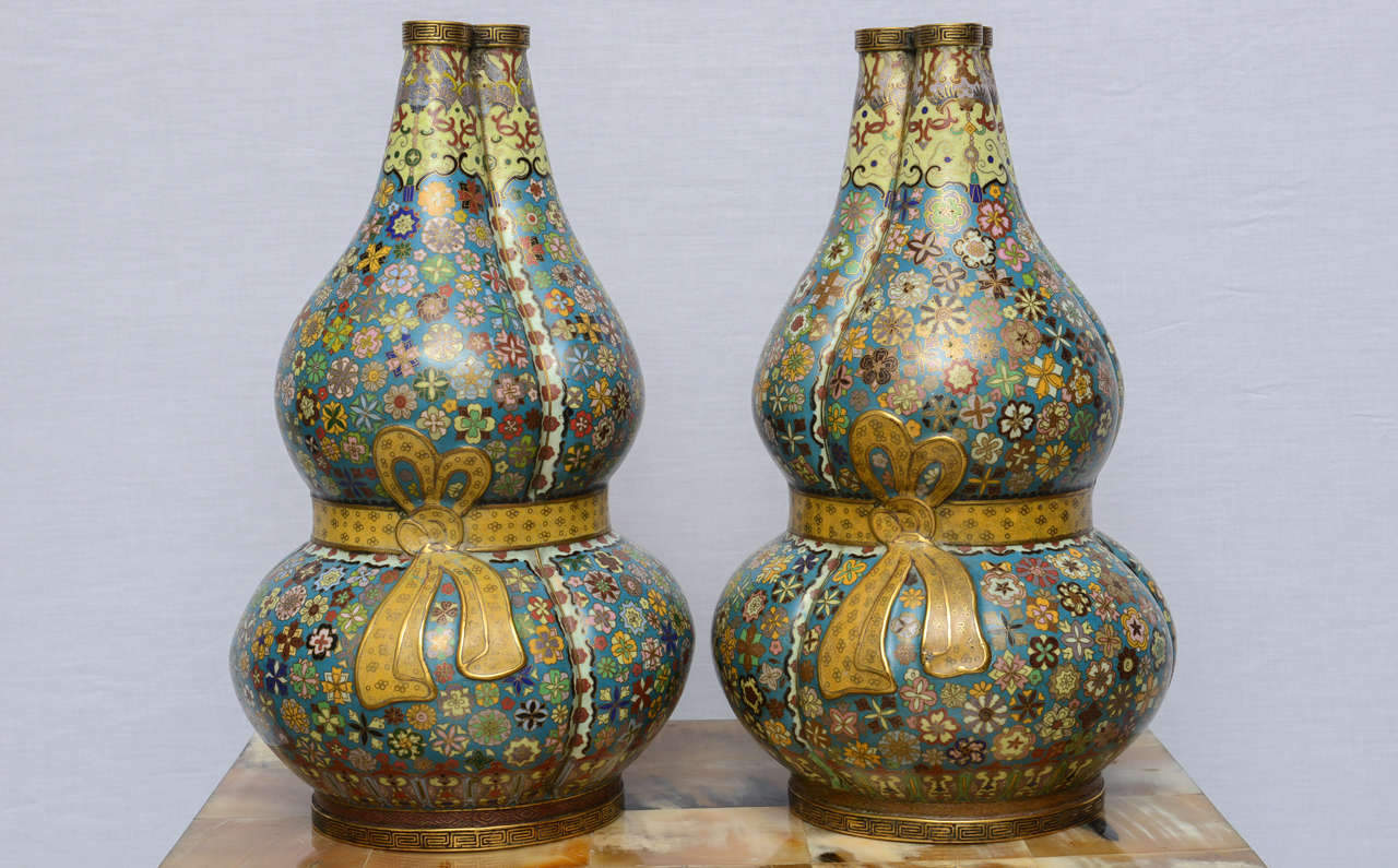 Pair of antique chinese triple gourd cloisonne vase with qianlong each vase is finely decorated with a mill fleur thousand flowers design on reviewsmspy