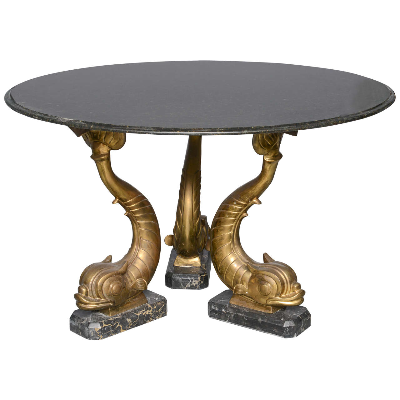 Mid-Century Marble-Top, Brass Dolphins Center Table