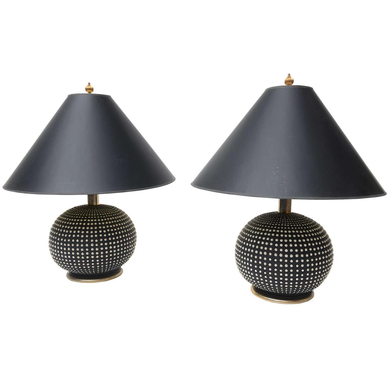 Italian Ceramic Hobnail Lamps