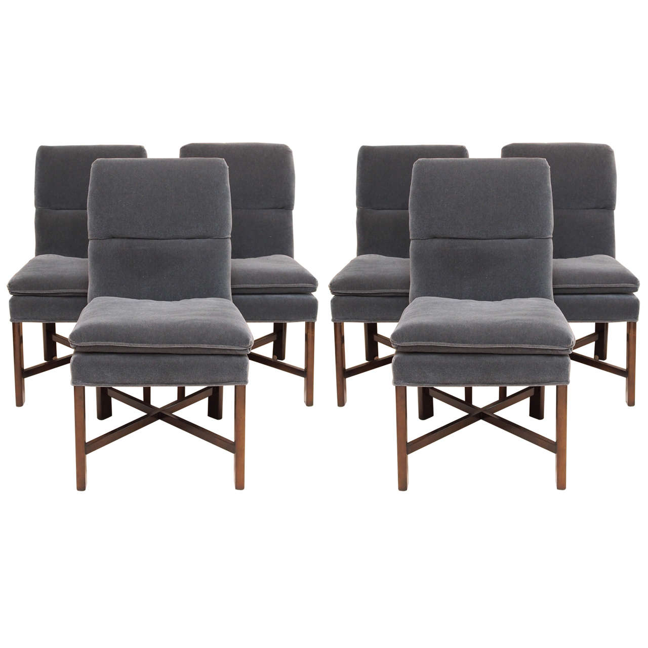 Six vintage baker dining chairs with velvet upholstery at