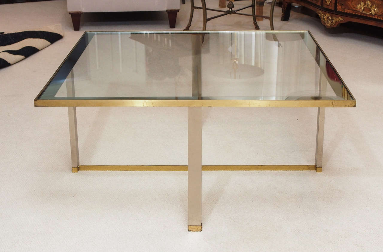 Minimalist Cocktail Table in Brass and Glass at 1stdibs