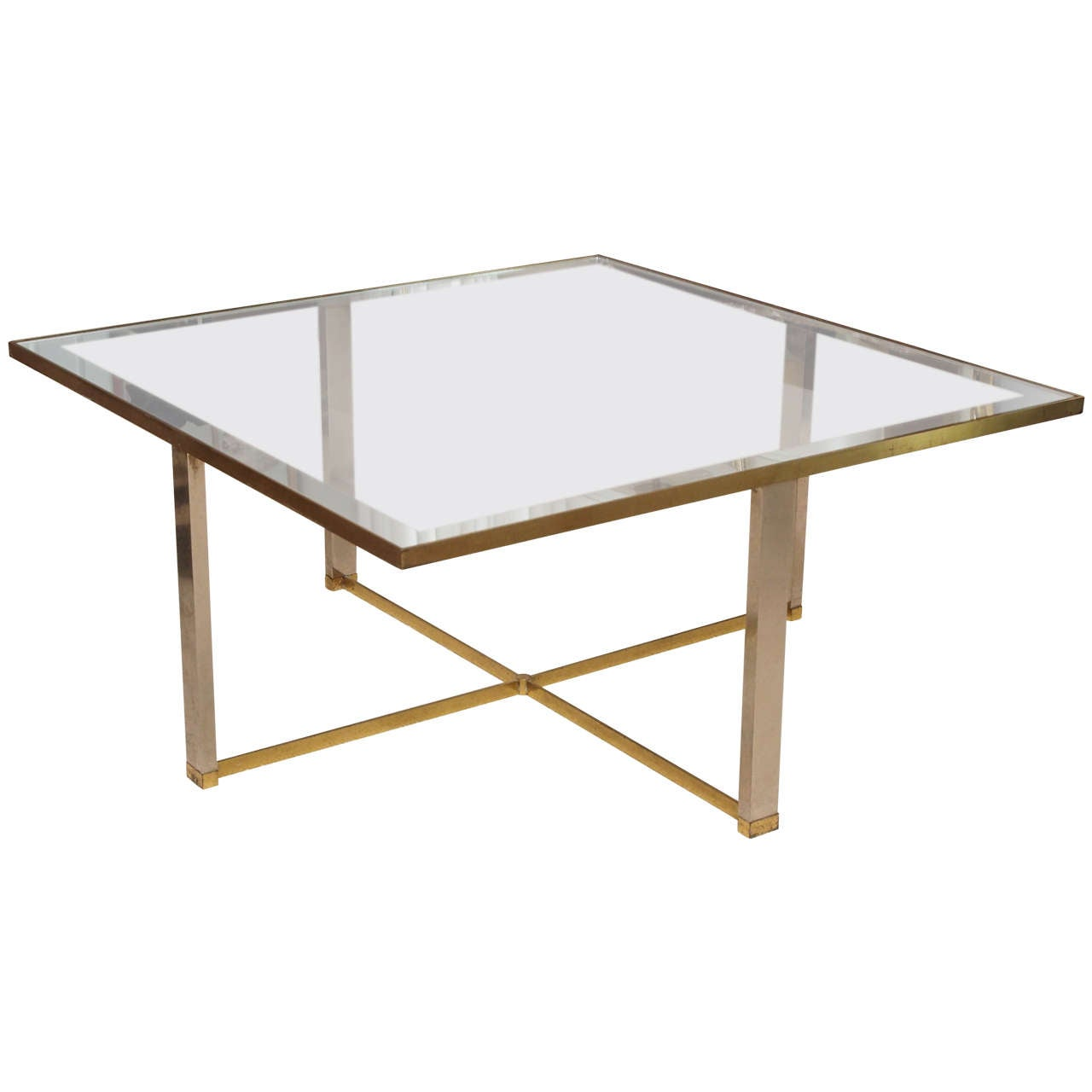 Minimalist cocktail table in brass and glass at 1stdibs for Designer cocktail tables glass