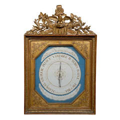 French Giltwood Empire Style Galerie De Bois Barometer with Eagle on the Crest