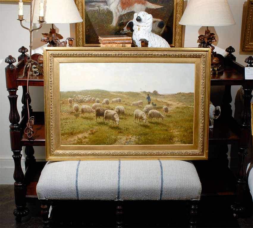 Sheep and Shepherd oil painting in gilt frame. Signed by Dutch artist Cornelius Westerbeck 1844 - 1903