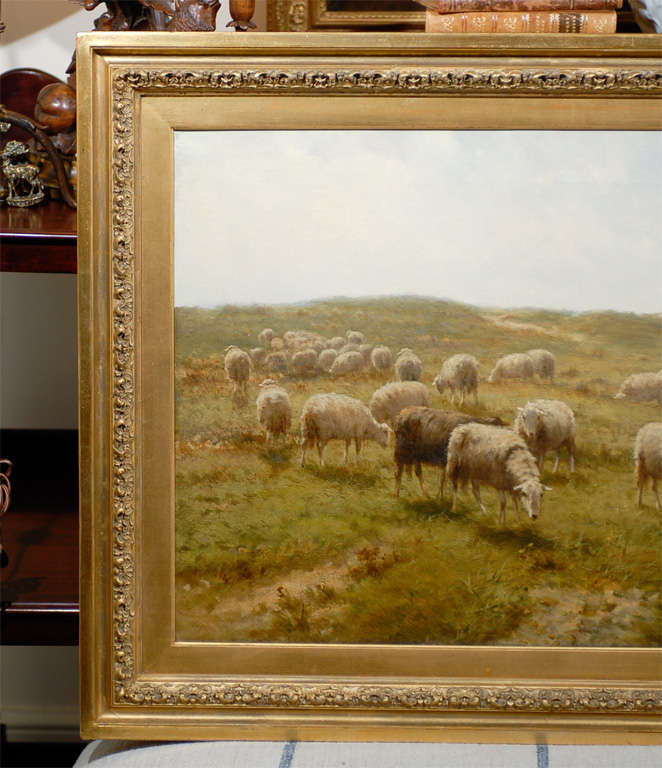 Dutch Sheep and Shepherd Oil Painting