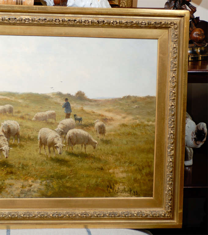 19th Century Sheep and Shepherd Oil Painting