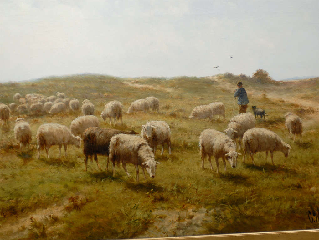 Sheep and Shepherd Oil Painting 1