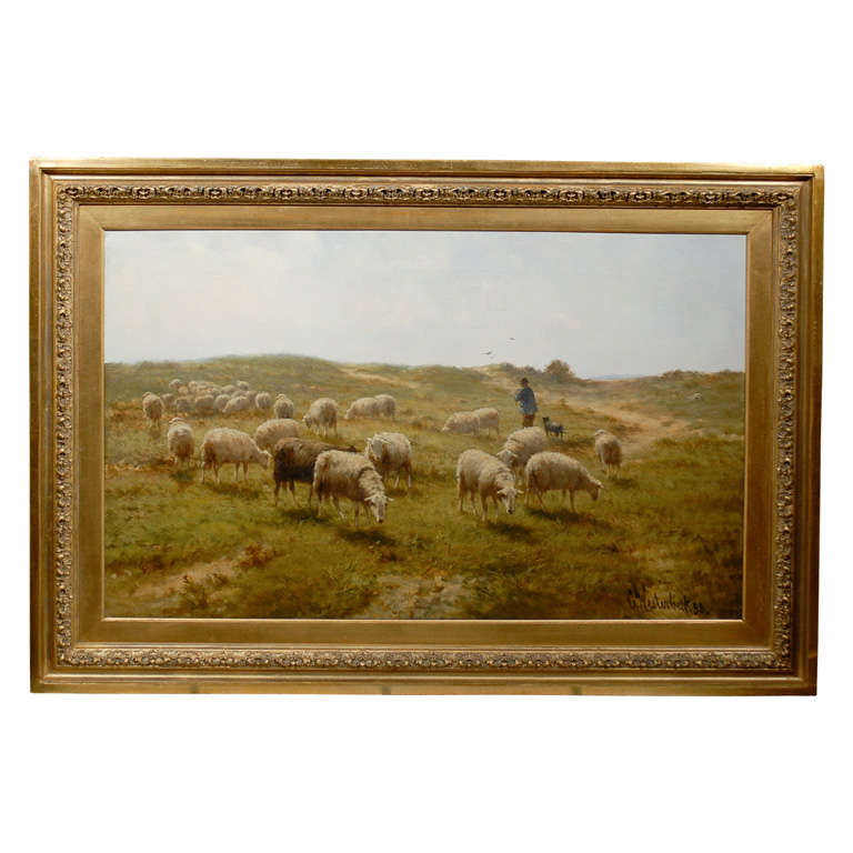 Sheep and Shepherd Oil Painting