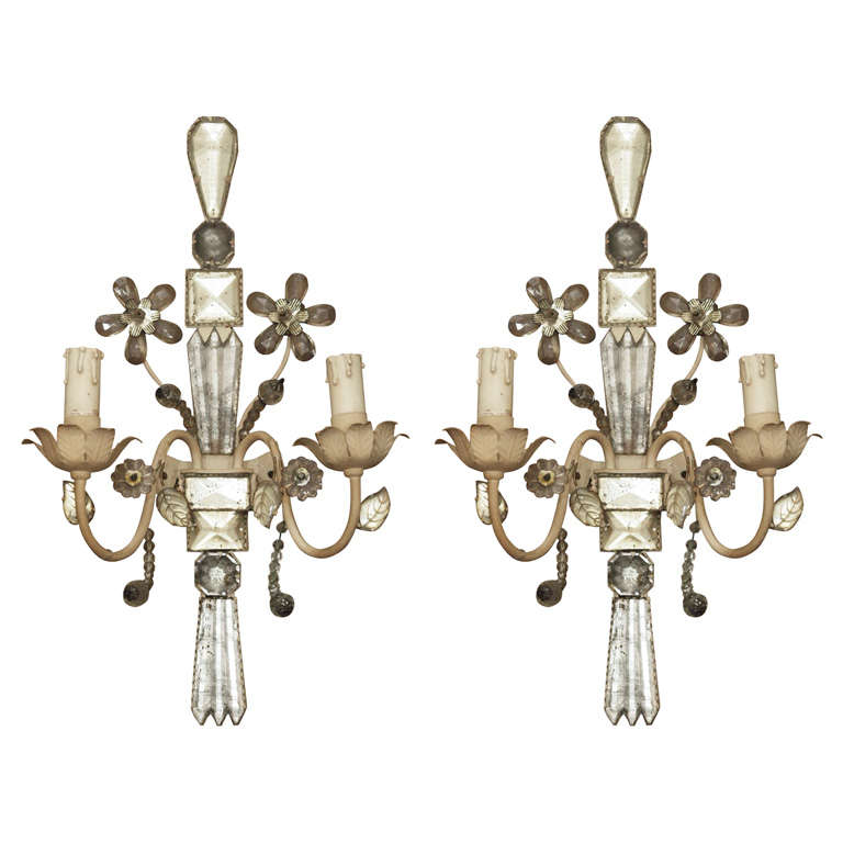 A pair of French bagues style sconces