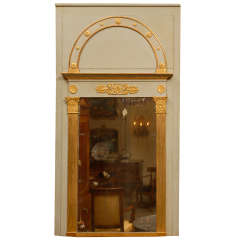 Empire Period Painted & Parcel-Gilt Trumeau Mirror