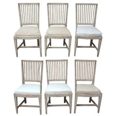 A Set of Six Matched Gustavian Dining Chairs
