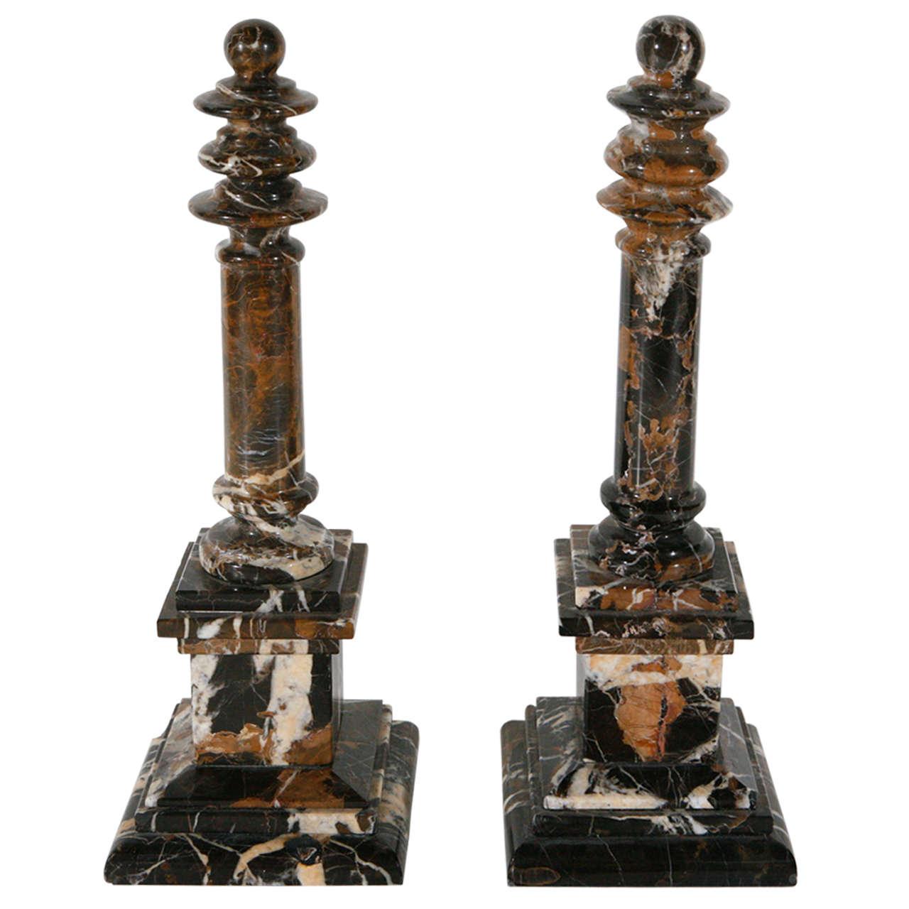 Italian, Chocolate Marble Obelisks