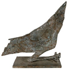 Signed, Midcentury Bronze Bird Sculpture