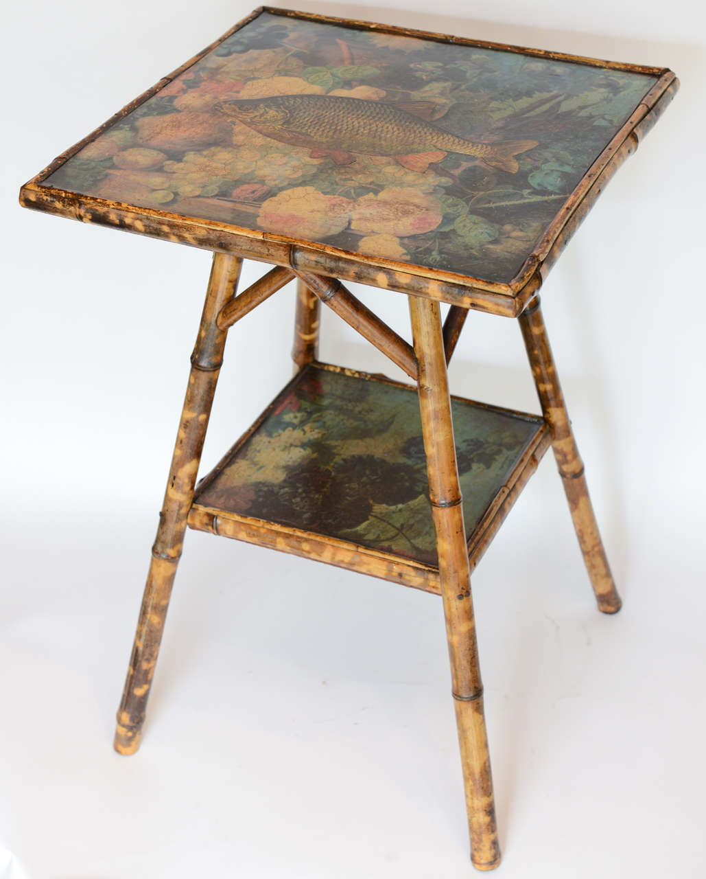 Bamboo Table With Design: Antique Two-Tier Decoupage Bamboo Table For Sale At 1stdibs