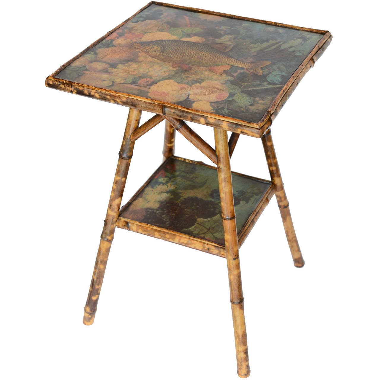 Antique Two-Tier Decoupage Bamboo Table