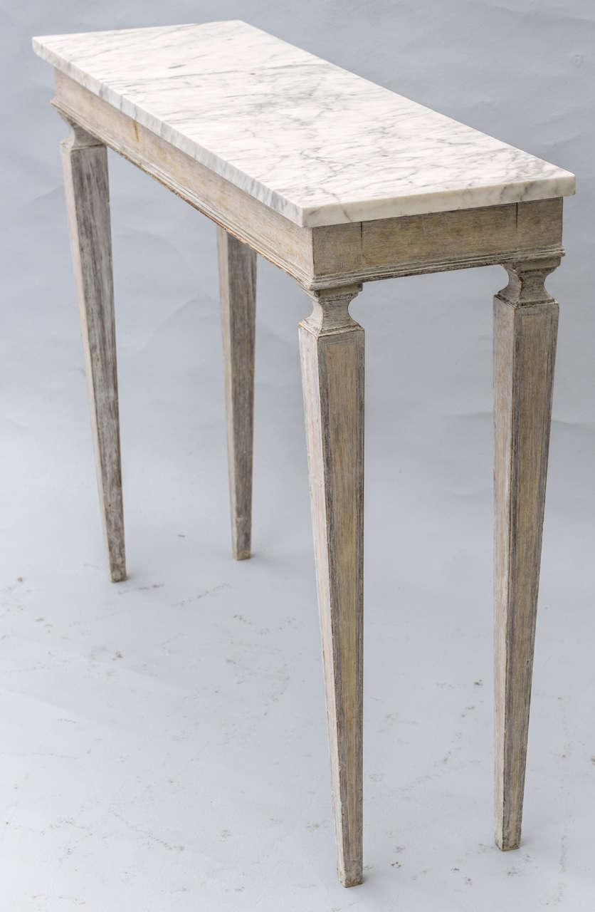 Pair of narrow painted console tables with marble tops at 1stdibs - Marble tops for furniture ...