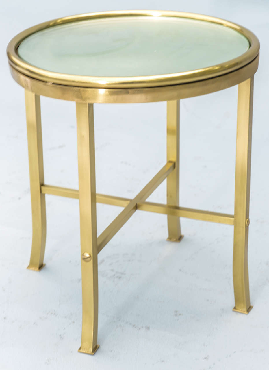 Mccobb Brass Accent Table With Mirrored Top At 1stdibs